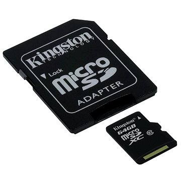 Kingston Micro SDXC 64GB Class 10 UHS-I + SD adaptér (SDC10G2/64GB)