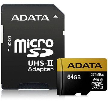 ADATA Premier ONE MicroSDXC 64GB UHS-II U3 Class 10 + SD adaptér (AUSDX64GUII3CL10-CA1)