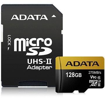 ADATA Premier ONE MicroSDXC 128GB UHS-II U3 Class 10 + SD adaptér (AUSDX128GUII3CL10-CA1)