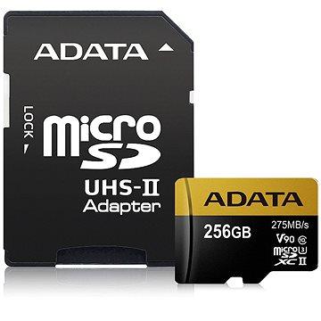 ADATA Premier ONE MicroSDXC 256GB UHS-II U3 Class 10 + SD adaptér (AUSDX256GUII3CL10-CA1)