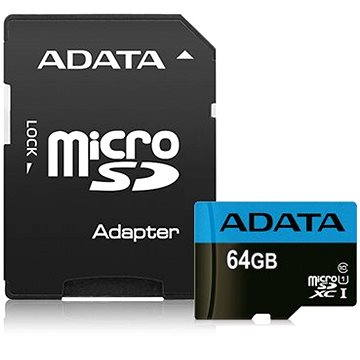 ADATA Premier Micro SDXC 64GB UHS-I Class 10 + SD adaptér (AUSDX64GUICL10 85-RA1)