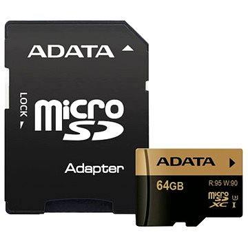 ADATA XPG Micro SDXC 64GB UHS-I U3 Class 10 + SDHC adaptér (AUSDX64GXUI3-RA1)