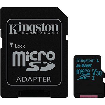 Kingston Canvas Go! MicroSDXC 64GB UHS-I U3 + SD adaptér (SDCG2/64GB)