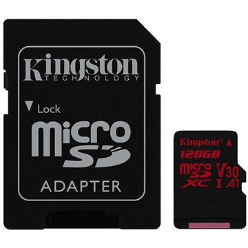 Kingston Canvas React MicroSDXC 128GB A1 UHS-I V30 U3 + SD adaptér (SDCR/128GB)