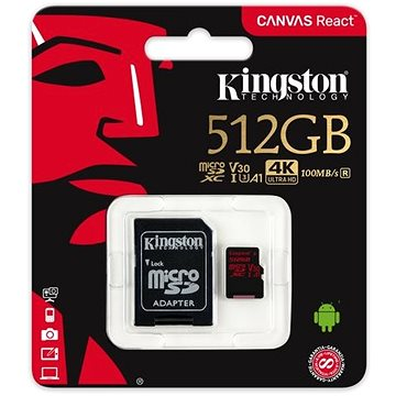 Kingston Canvas React MicroSDXC 512GB A1 UHS-I V30 U3 + SD adaptér (SDCR/512GB)