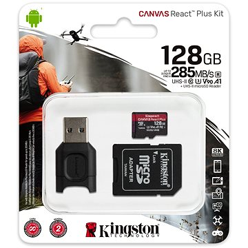 Kingston MicroSDXC 128GB Canvas React Plus + SD adaptér a čtečka karet (MLPMR2/128GB)
