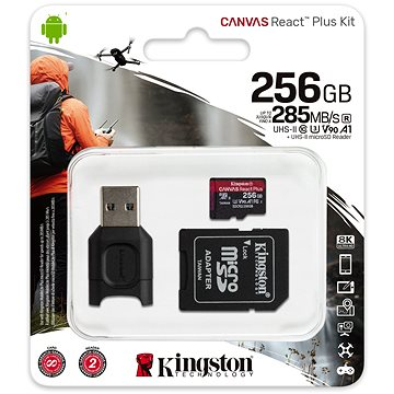 Kingston MicroSDXC 256GB Canvas React Plus + SD adaptér a čtečka karet (MLPMR2/256GB)