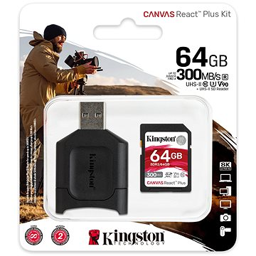 Kingston Canvas React Plus SDXC 64GB + čtečka karet (MLPR2/64GB)