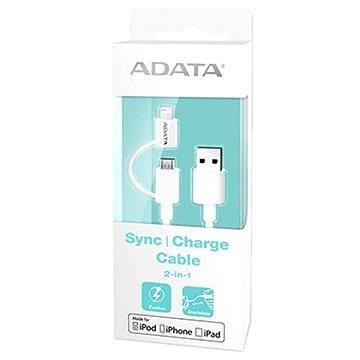 ADATA Lightning/Micro USB MFi 1m bílý (AMFI2IN1-100CM-CWH)