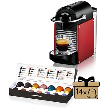 NESPRESSO DéLonghi Pixie EN125.R + ZDARMA Voucher Nespresso voucher na 80 kapslí Grand Cru kávy