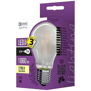 EMOS LED žárovka Filament matná A60 A++ 8,5W E27 teplá bílá (1525283245)
