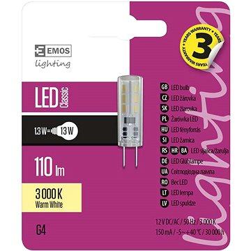 EMOS LED žárovka Classic JC A++ 1,3W G4 teplá bílá (1525735200)