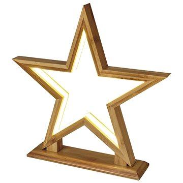EMOS LED dekorace – hvězda dřevěná, vnitřní, teplá bílá (1534235900)