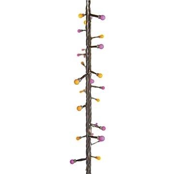 EMOS 40 LED vánoční světelný řetěz – kuličky, 4m, žlutá/růžová, časovač (1534202000)
