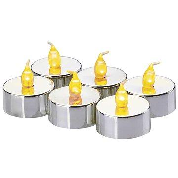 EMOS LED vánoční dekorace – svíčka, čajová, stříbrná, 6× CR2032 (1534215000)