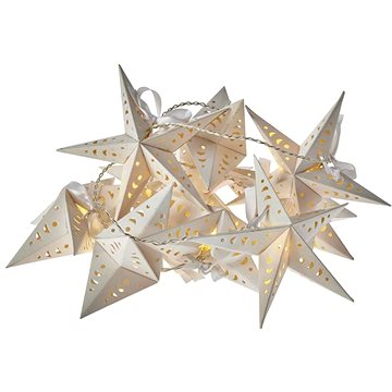 LED vánoční girlanda – hvězdy, 2x AA, teplá bílá, časovač (1534206400)