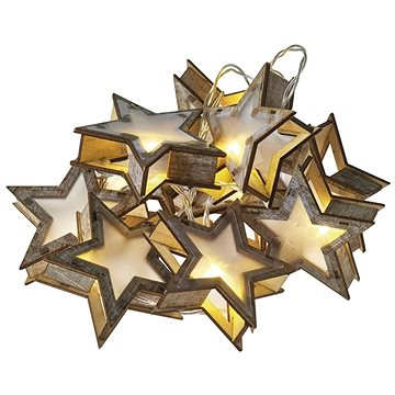 LED vánoční girlanda – hvězdy 3D, 2x AA, teplá bílá, časovač (1534206500)