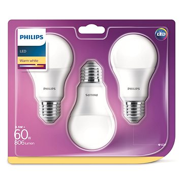 Philips LED 9-60W E27, 2700K, mléčná, set 3ks (929001313595)