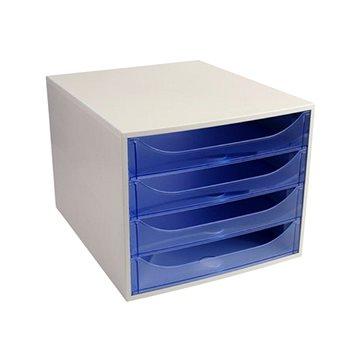 EXACOMPTA 4-zásuvkový, transparentní modrý (228610D)
