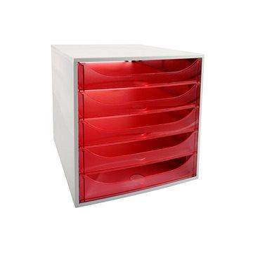 EXACOMPTA 5-zásuvkový, transparentní červený (229654D)