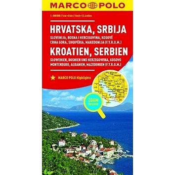 Chorvatsko, Srbsko, Slovinsko, Bosna 1:800 000: Hrvatska Srbija Kroatien Serbien (9783829738347)