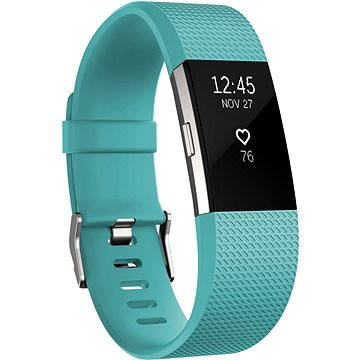 Fitness náramek Fitbit Charge 2 Large Teal Silver (FB407STEL-EU)