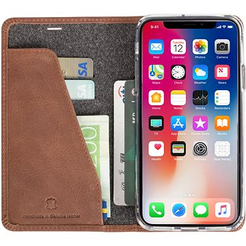 Krusell SUNNE 4 CARD Foliocase pro Apple iPhone X, hnědá (61098)