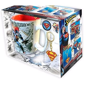 Superman set - hrnek, přívešek, 2x odznak (3700789220305)