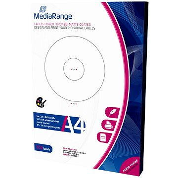 MediaRange CD/DVD/Blu-ray etikety 41mm - 118mm bílé (MRINK131)