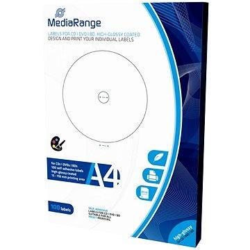 MediaRange CD/DVD/Blu-ray etikety 15mm - 118mm bílé, vysoký lesk (MRINK132)