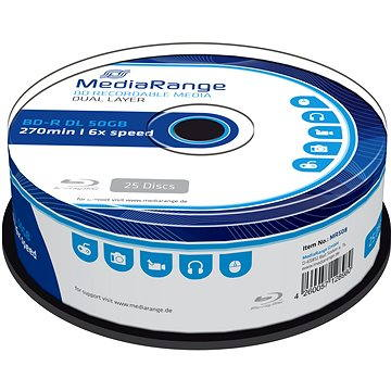 MediaRange BD-R (HTL) 50GB Dual Layer, 25ks cakebox (MR508) + ZDARMA Pouzdro na CD/DVD Mediarange na 48ks - NYLON - černé