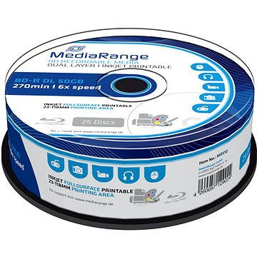 MediaRange BD-R (HTL) 50GB Dual Layer Inkjet Printable, 25ks cakebox (MR510) + ZDARMA Pouzdro na CD/DVD Mediarange na 48ks - NYLON - černé