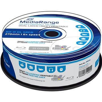 MediaRange BD-R (HTL) 50GB Dual Layer Inkjet Printable, 25ks cakebox (MR510) + ZDARMA Baterie MediaRange Premium AAA 4ks