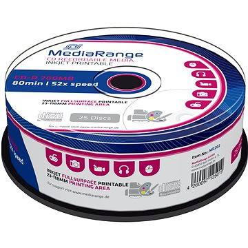 MediaRange CD-R Inkjet Fullsurface Printable 25ks cakebox (MR202)