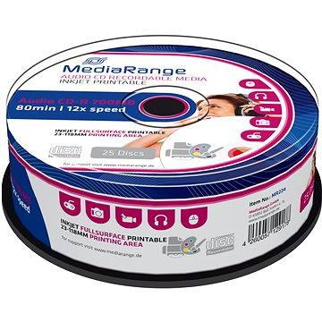 MediaRange CD-R Audio Inkjet Fullsurface Printable 25ks cakebox (MR224)