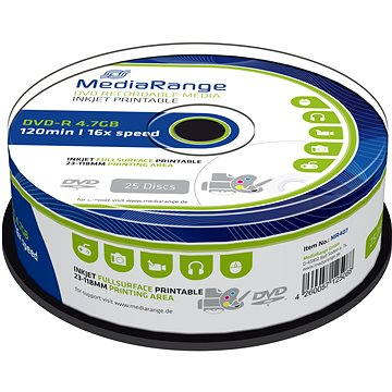 MediaRange DVD-R Inkjet Fullsurface Printable 25ks cakebox (MR407)