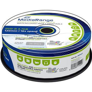 MediaRange DVD-R Waterguard Inkjet Fullprintable 25ks cakebox (MRPL612)