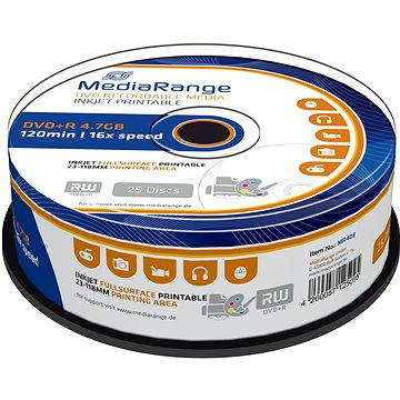 MediaRange DVD+R Inkjet Fullsurface Printable 25ks cakebox (MR408)