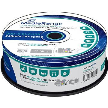 MediaRange DVD+R Dual Layer 8.5GB Injekt Printable, 25ks (MR474)