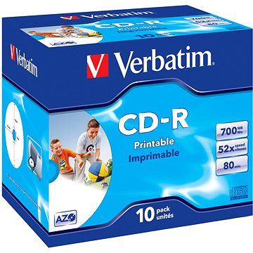 Verbatim CD-R Imprimable AZO 52x, Printable 10ks v krabičce (43325)
