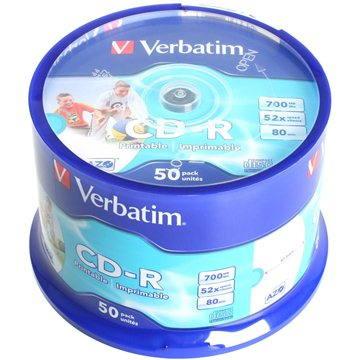 Verbatim CD-R DataLife Protection 52x, Printable 50ks cakebox (43309)