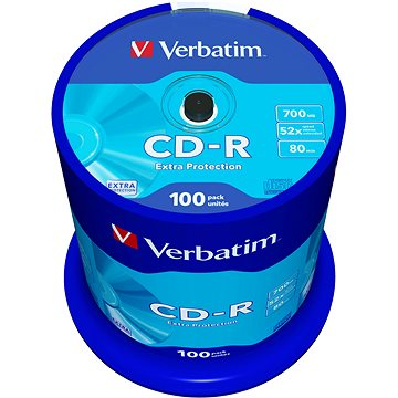 Verbatim CD-R DataLife Protection 52x, 100ks cakebox (43411)