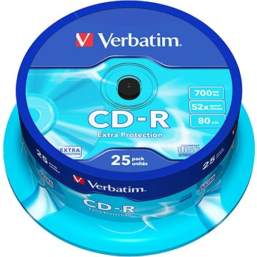 Verbatim CD-R DataLife Protection 52x, 25ks cakebox (43432)