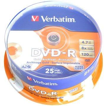 Verbatim DVD-R 8x, Archival Grade Photo Printable 25ks cakebox (43634)
