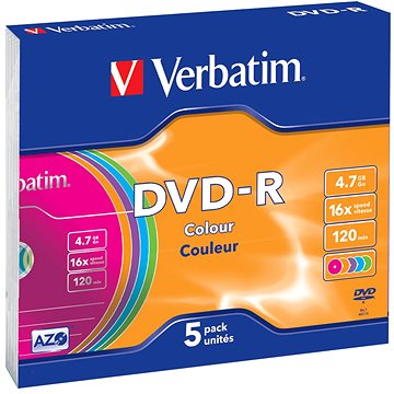 Verbatim DVD-R 16x, COLOURS 5ks v SLIM krabičce (43557)