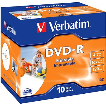 VERBATIM DVD-R AZO 4.7GB, 16x, printable, jewel case 10 ks (43521)