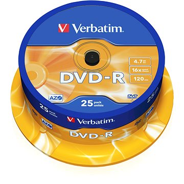 VERBATIM DVD-R AZO 4.7GB, 16x, spindle 25 ks (43522)