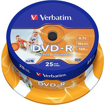 VERBATIM DVD-R AZO 4.7GB, 16x, printable, spindle 25 ks (43538)