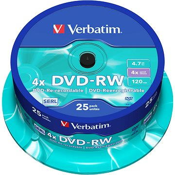 Verbatim DVD-RW 4x, 25ks cakebox (43639)