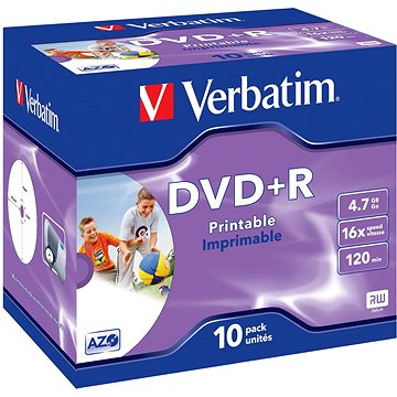 VERBATIM DVD+R AZO 4.7GB, 16x, printable, jewel case 10 ks (43508)